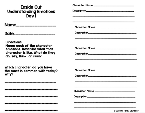 Inside Out Movie Companion Understanding Emotions Activity Worksheets