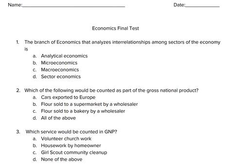 Economics Multiple Choice Final