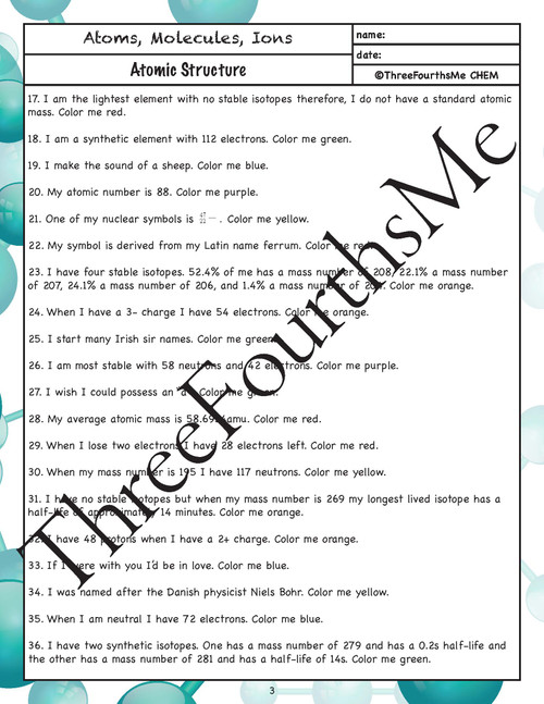 Atomic Structure Riddle Activity