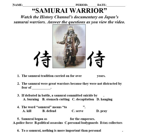 Feudal Japan - Powerpoint and Guided Student Notes with Samurai Video Questions