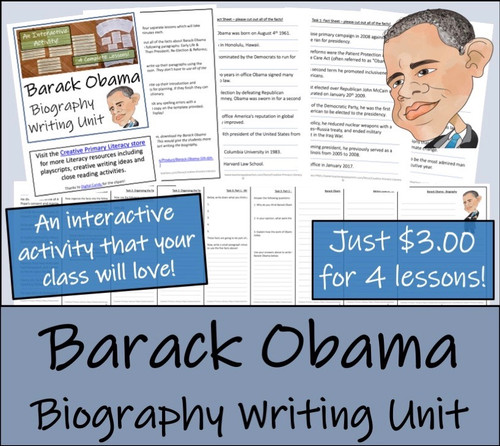 Barack Obama - 5th & 6th Grade Biography Writing Activity
