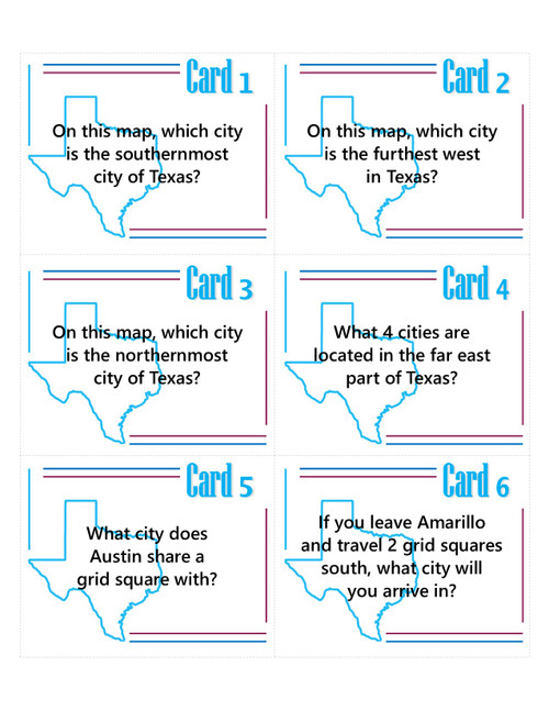 Texas Grid Map and Task Cards