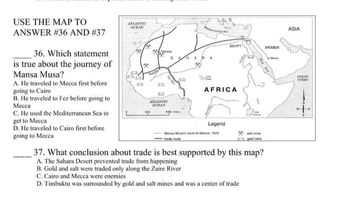 Unit 3 Test - Islam and Kingdoms of Africa
