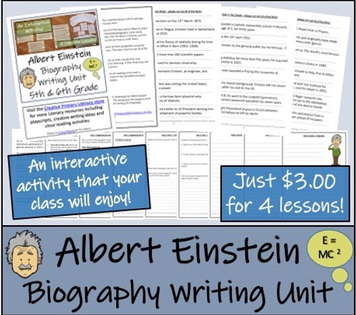 Albert Einstein- 5th & 6th Grade Biography Writing Activity