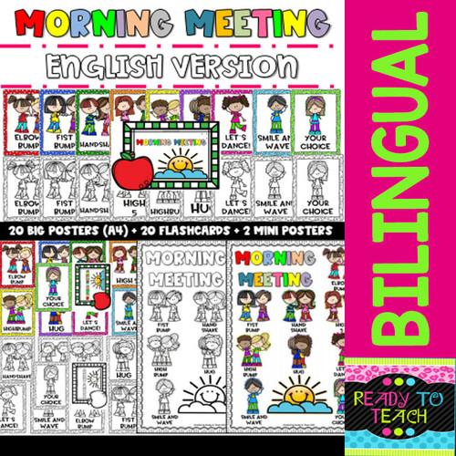 MORNING MEETING - SALUDOS DE LA MAÑANA - Posters and Flashcards - Bilingual