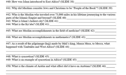 World History Fall Semester Exam Review