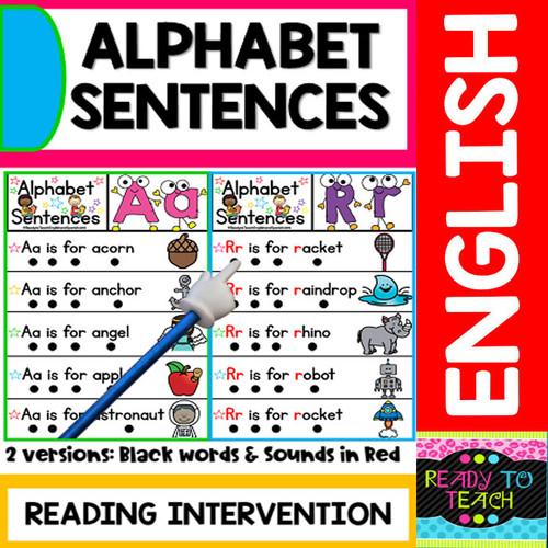 Alphabet Sentences - 2 Versions - English Version