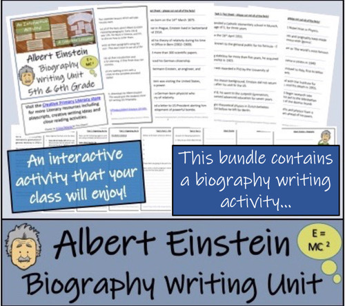 Albert Einstein - 5th & 6th Grade Close Read & Biography Writing Bundle