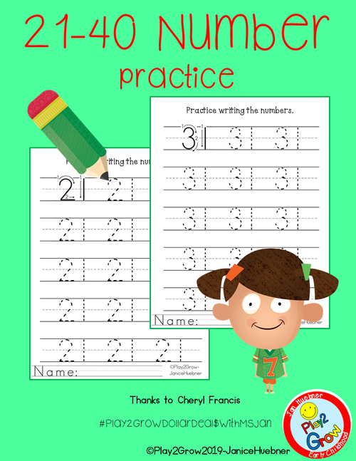 21-40 Practice Writing Numbers