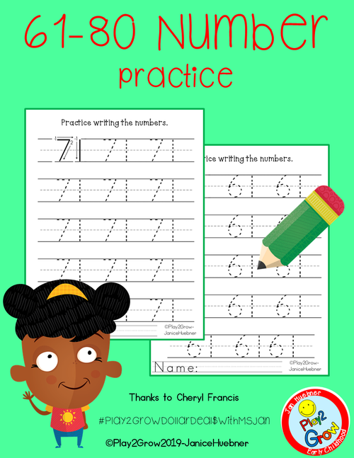 61-80 Practice Writing Numbers