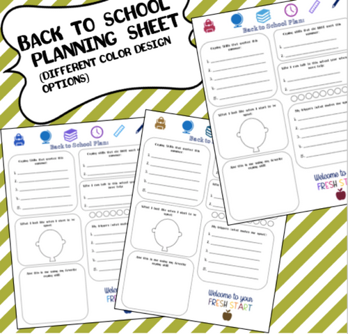 Back to School Plan Sheet (Various Colors) (Individual Counseling Resource!)