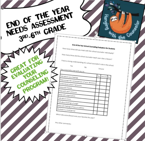 3rd-6th grade Counseling Evaluation for Students (End of the Year)