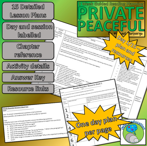 Private Peaceful - Michael Morpurgo: Guided Reading 15 lesson plans and Resources