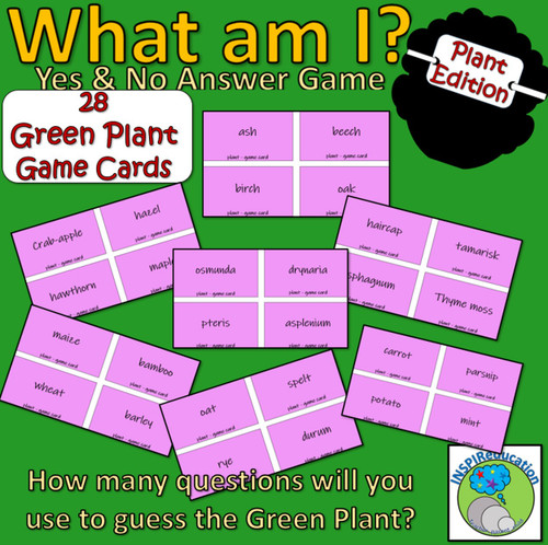 Classification of Green Plants: Taxonomy - What am I? Card Game (Yes/No)