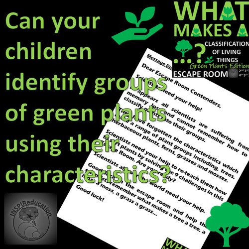 ESCAPE ROOM: Science - Classification of Green Plants