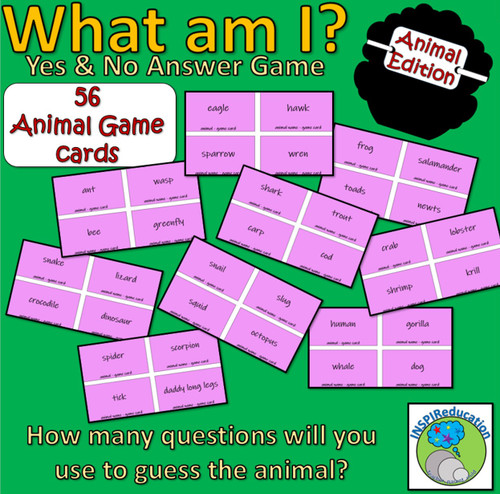 Classification of Animals - Taxonomy - What am I? Yes/No Card Game