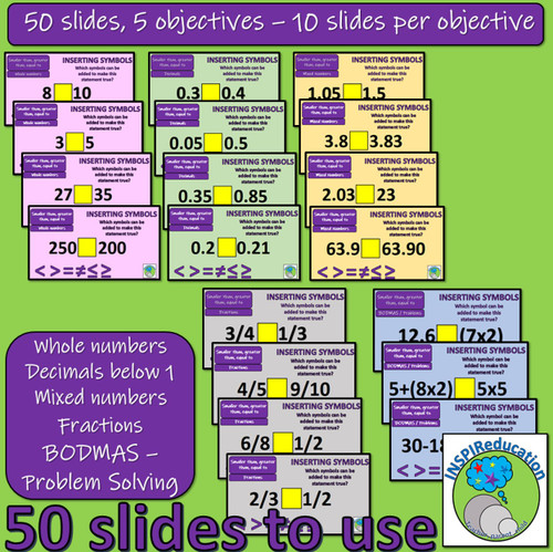 Number - Greater than, Smaller than, Equal to: PowerPoint teaching activity, posters and bookmarks