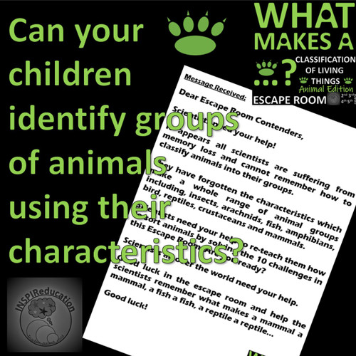 SCIENCE ESCAPE ROOM: Classification of Animals - 10 Challenges to solve