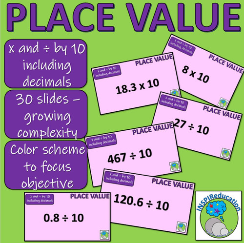 Place Value - PowerPoint - Multiplying and dividing digits by 10, 100 and 1000 (including decimals)