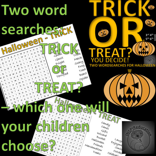 """Halloween Word Searches - """"Trick"""" or """"Treat"""" - Which will your children choose? Support Spellings"""