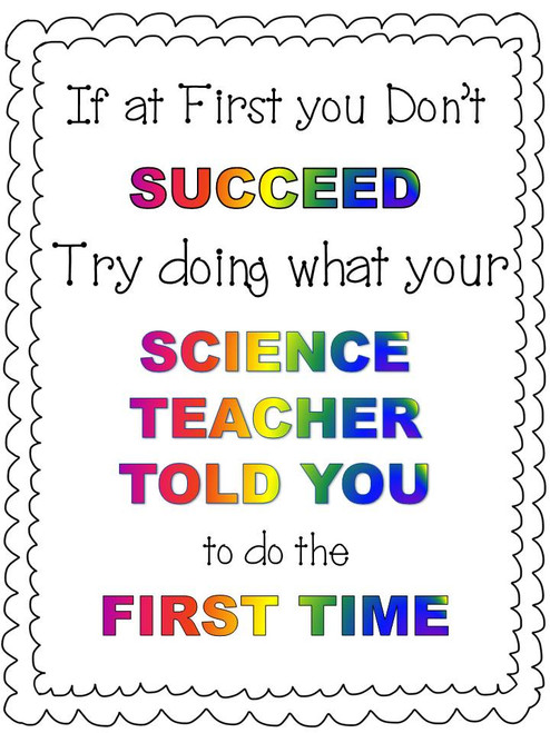 "Science Poster ""If At First You Don't Succeed..."" FREE Sample"