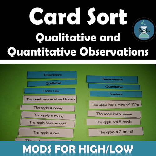Card Sort: Qualitative and Quantitative Observations