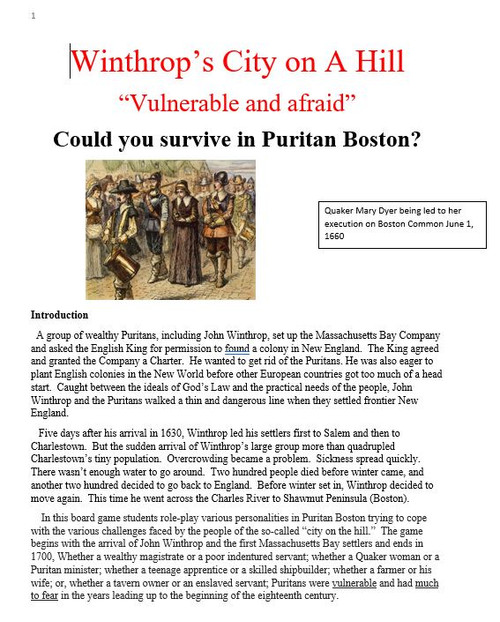 Could you survive in Puritan Boston? Board Game