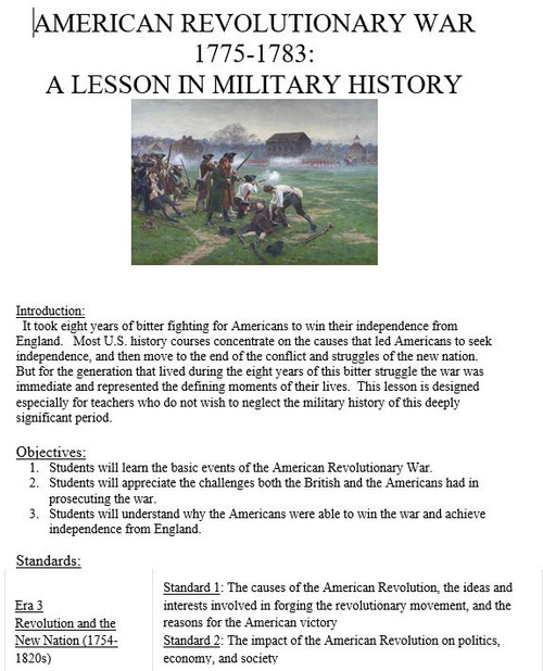 American Revolutionary War 1775-1783: A Lesson in Military History