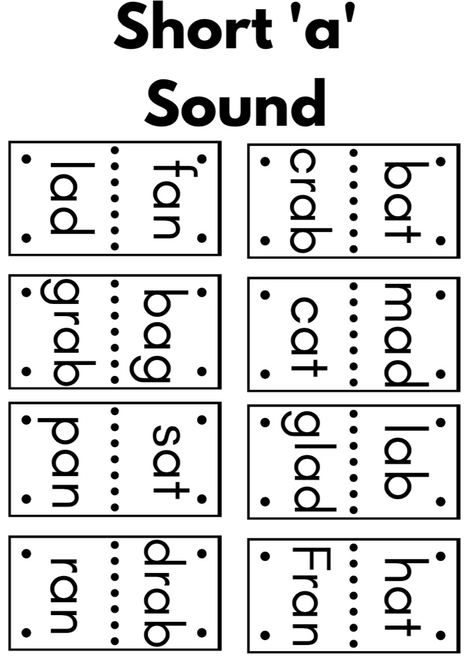 Rhyme Dominos Game - Short Vowel Sounds