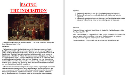 FACING  THE INQUISITION Activity