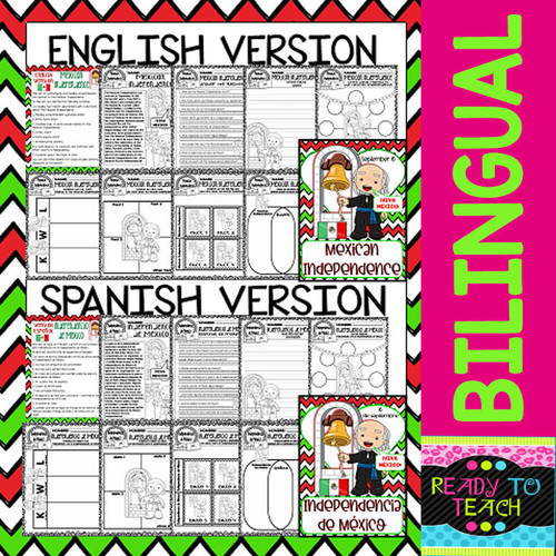 Mexican Independence - Independencia de Mexico - Reading and Worksheets - Bilingual