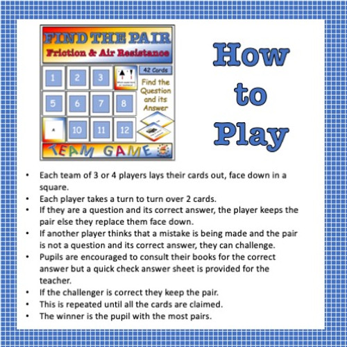 Forces - Friction and air Resistance Find the Pair Game for Middle School