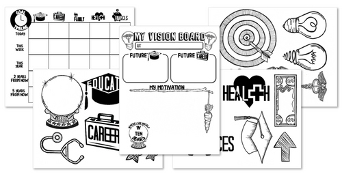 Goal Setting Activities- Graphic Organizer, Timeline and Clipart for Dream Board