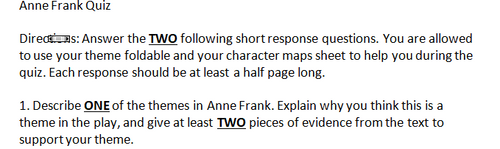 The Diary of Anne Frank- Short Response Test