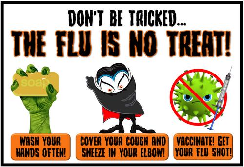 October Health-Themed Bulletin Board (Flu)- Just print, cut and display!
