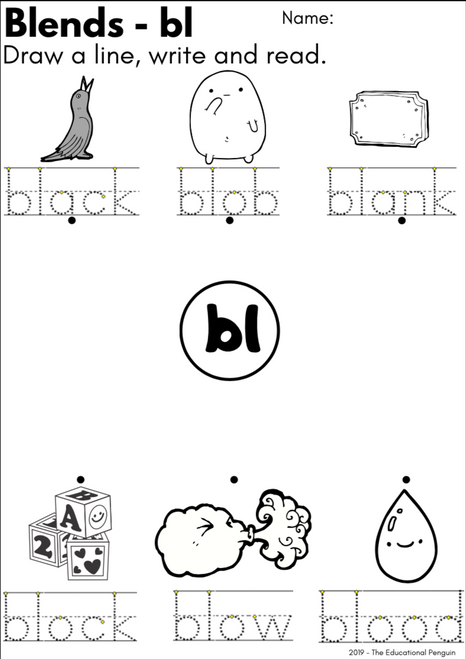 Blends Worksheet - BL, BR, CL, CR