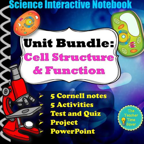 Cell Biology Unit lesson test notes and slides Bundle- organelles prokaryotic eukaryotic