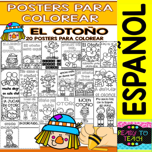 Coloring Posters in Spanish - Fall/Autumn/Otoño (20 posters)