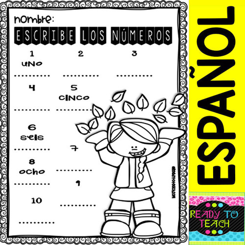 OTOÑO No-Prep FREEBIE Math and ELA Printables for Pre-K and Kinder in Spanish
