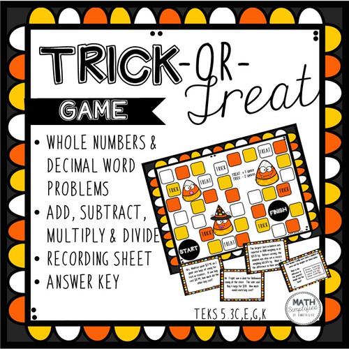 Trick-or-Treat Game: Decimal Word Problems