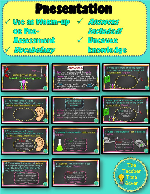 Scientific Investigation Warm-Ups Printable Activity