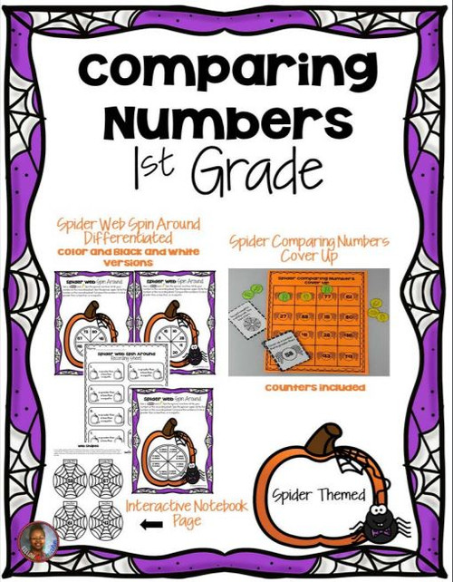 1st Grade Comparing Numbers Spider Themed