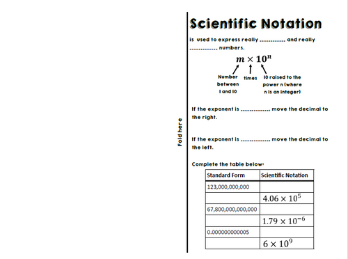 Scientific Notation Notes for Interactive Notebooks