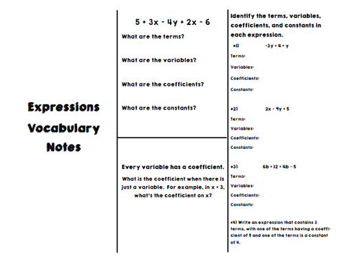 Expressions Vocabulary Notes for Interactive Notebooks