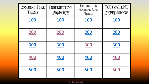 Simplify Expressions Halloween Themed Jeopardy