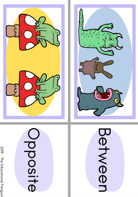 Prepositions of Place Flash Cards