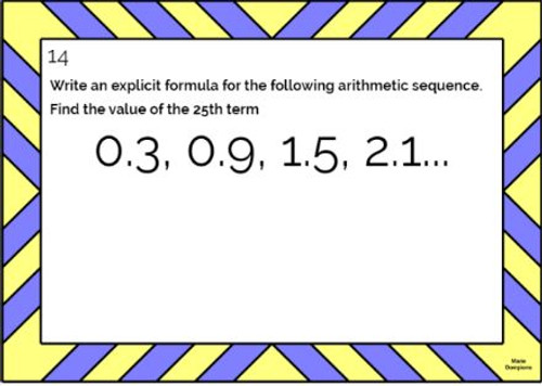 Arithmetic Sequences: Explicit and Recursive Formulas - 20 Task Cards