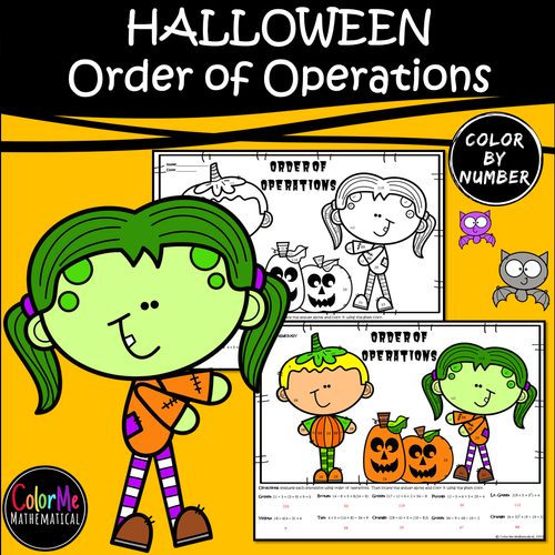 Halloween Basic Algebra - Order of Operations Worksheet - Color by Number