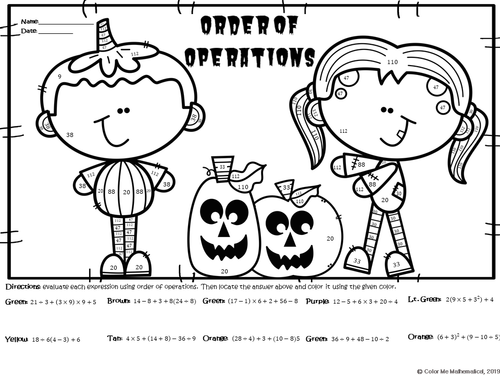 Halloween Basic Algebra - Order of Operations Worksheet - Color by Number