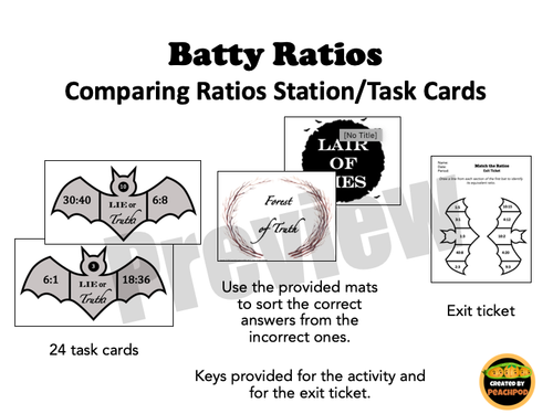 Batty Ratios: Comparing Ratios Station/Task Cards